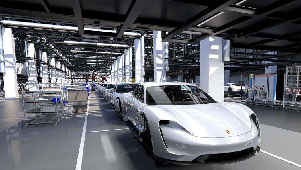 Electric Porsche Taycan production