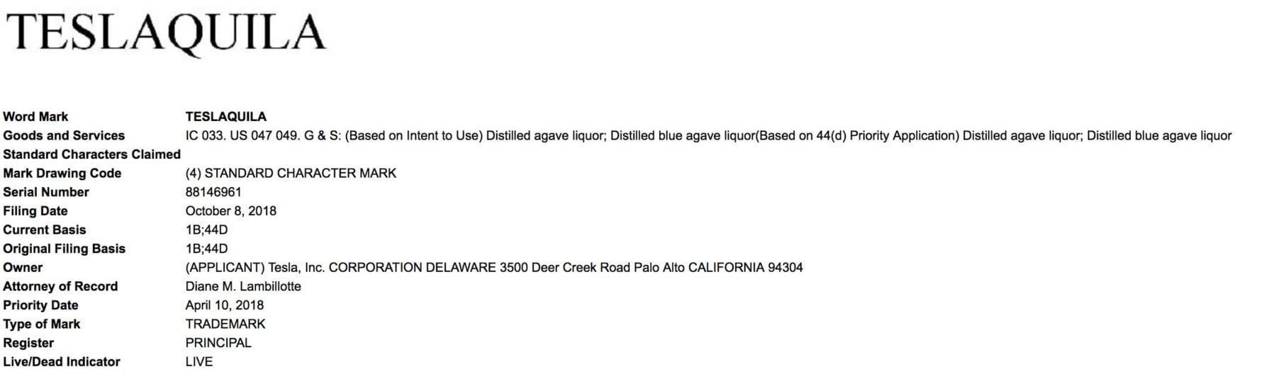 latest Tesla news: Teslaquila Trademark